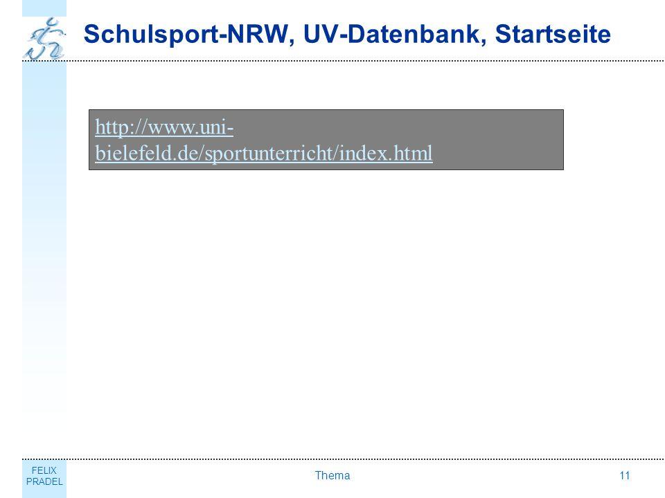 Schulsport-NRW, UV-Datenbank, Startseite