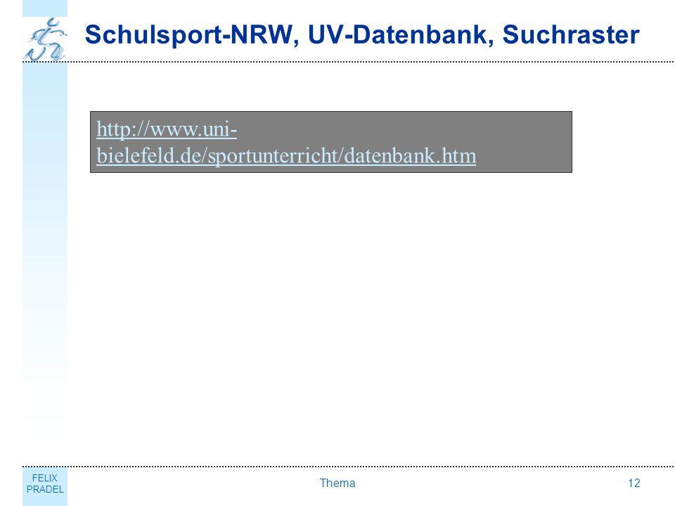 Schulsport-NRW, UV-Datenbank, Suchraster