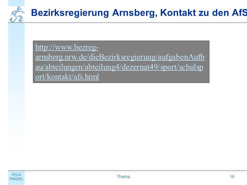 Bezirksregierung Arnsberg, Kontakt zu den AfS