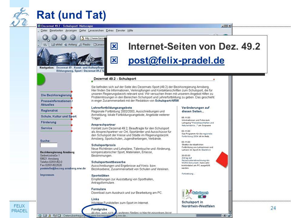 Rat (und Tat) Internet-Seiten von Dez. 49.2 post@felix-pradel.de Thema