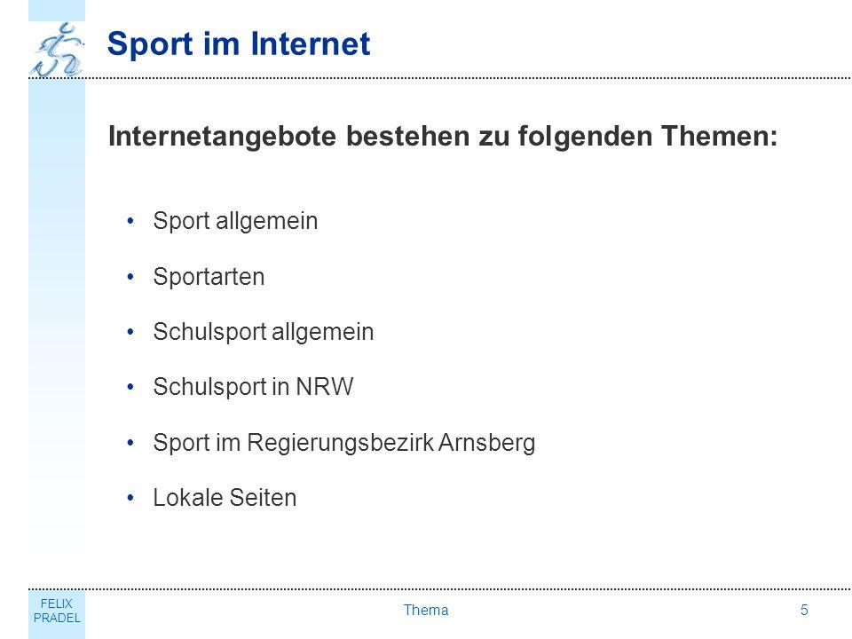 Sport im Internet Internetangebote bestehen zu folgenden Themen: