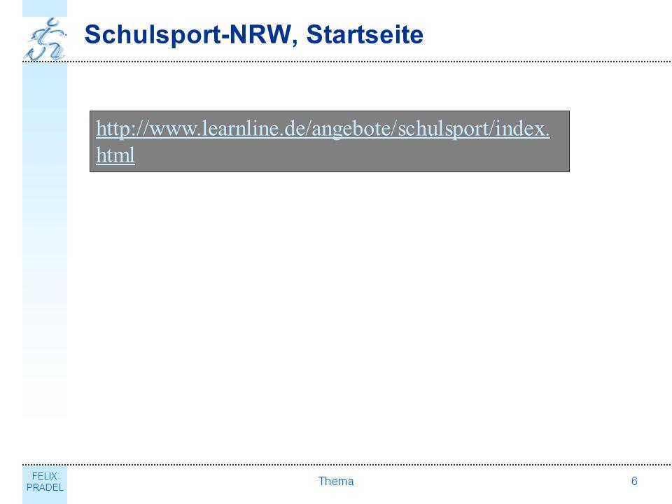 Schulsport-NRW, Startseite