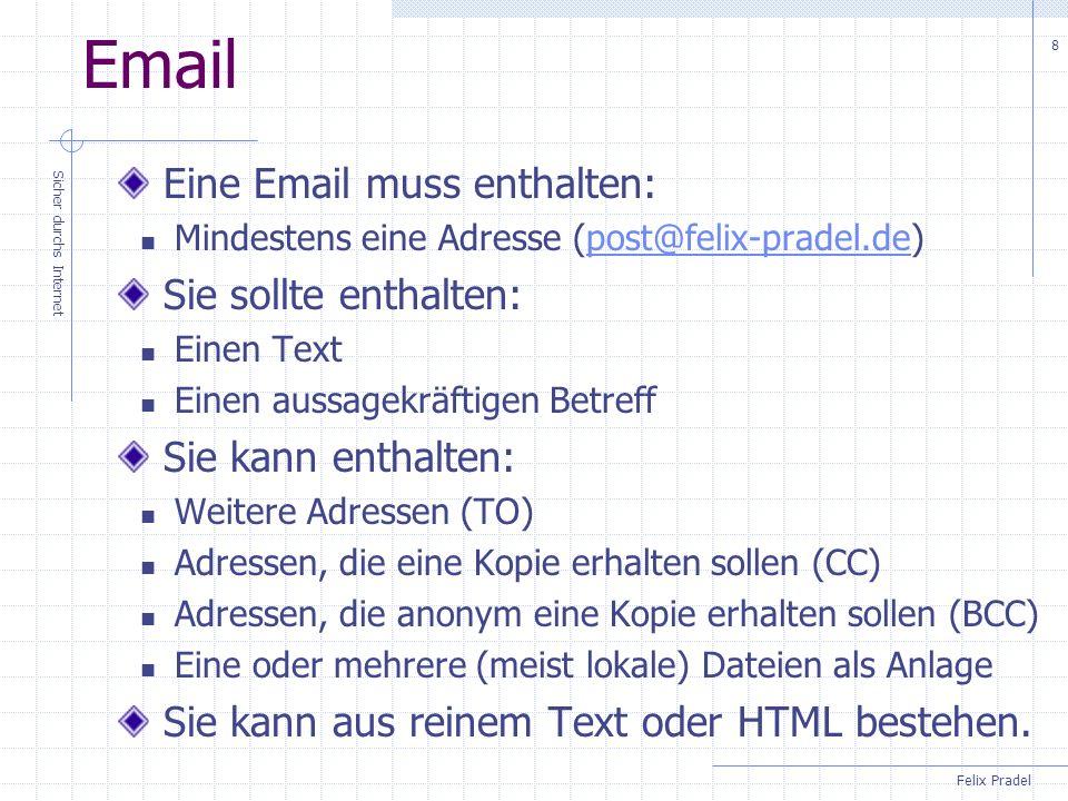 Email Eine Email muss enthalten: Sie sollte enthalten: