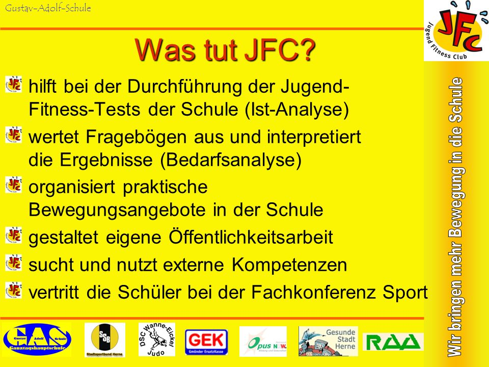 Was tut JFC hilft bei der Durchführung der Jugend- Fitness-Tests der Schule (Ist-Analyse)