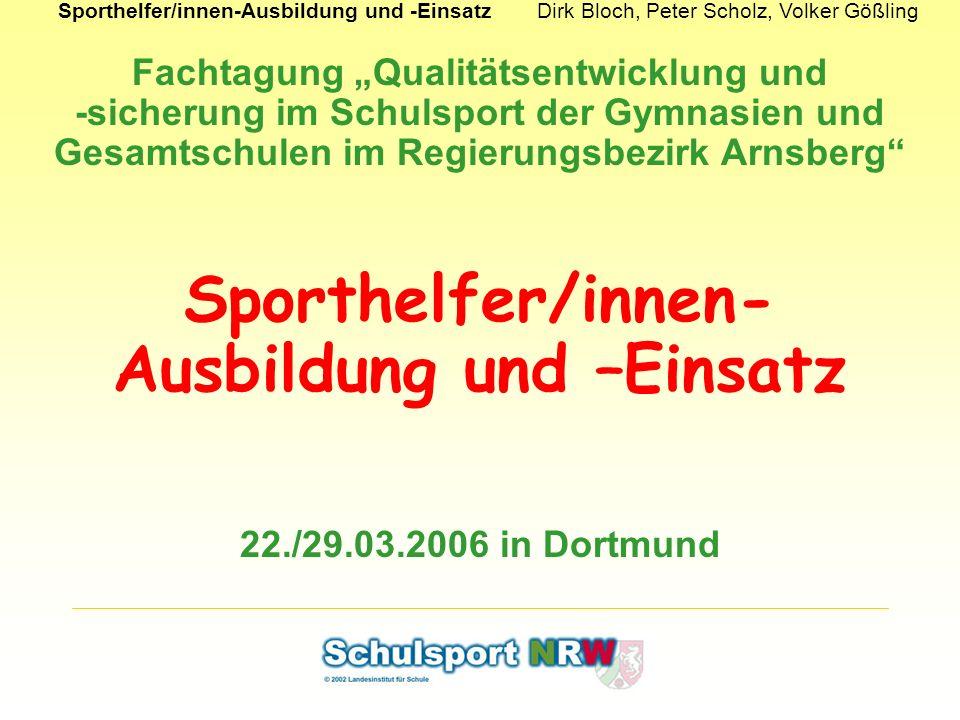 Sporthelfer/innen-Ausbildung und –Einsatz