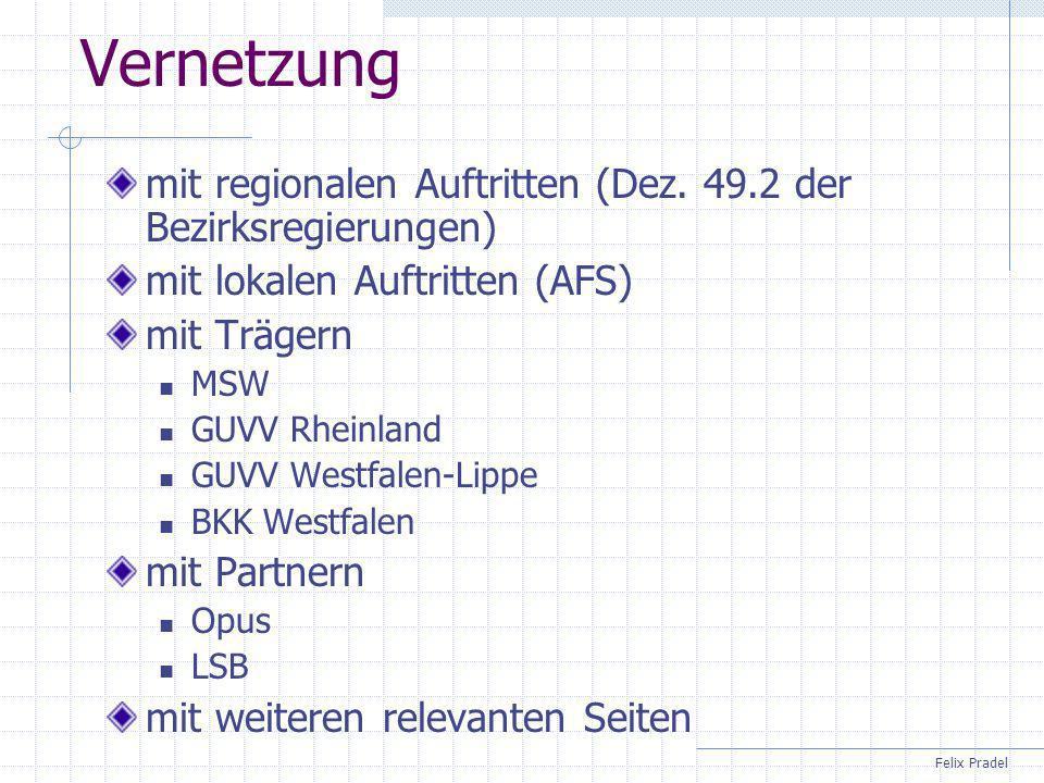 Vernetzung mit regionalen Auftritten (Dez. 49.2 der Bezirksregierungen) mit lokalen Auftritten (AFS)