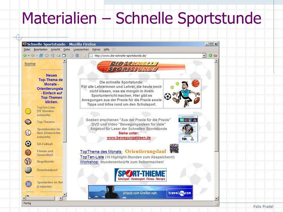 Materialien – Schnelle Sportstunde