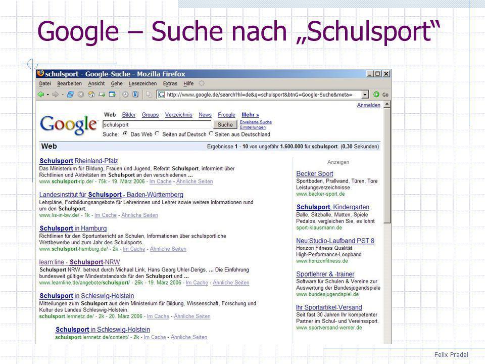 """Google – Suche nach """"Schulsport"""