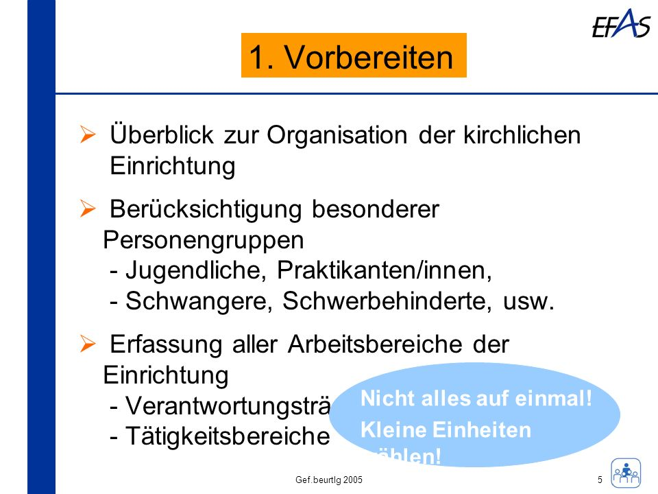 1. Vorbereiten Überblick zur Organisation der kirchlichen Einrichtung