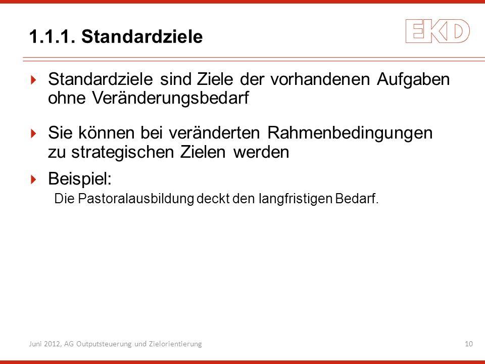 1.1.1. StandardzieleStandardziele sind Ziele der vorhandenen Aufgaben ohne Veränderungsbedarf.