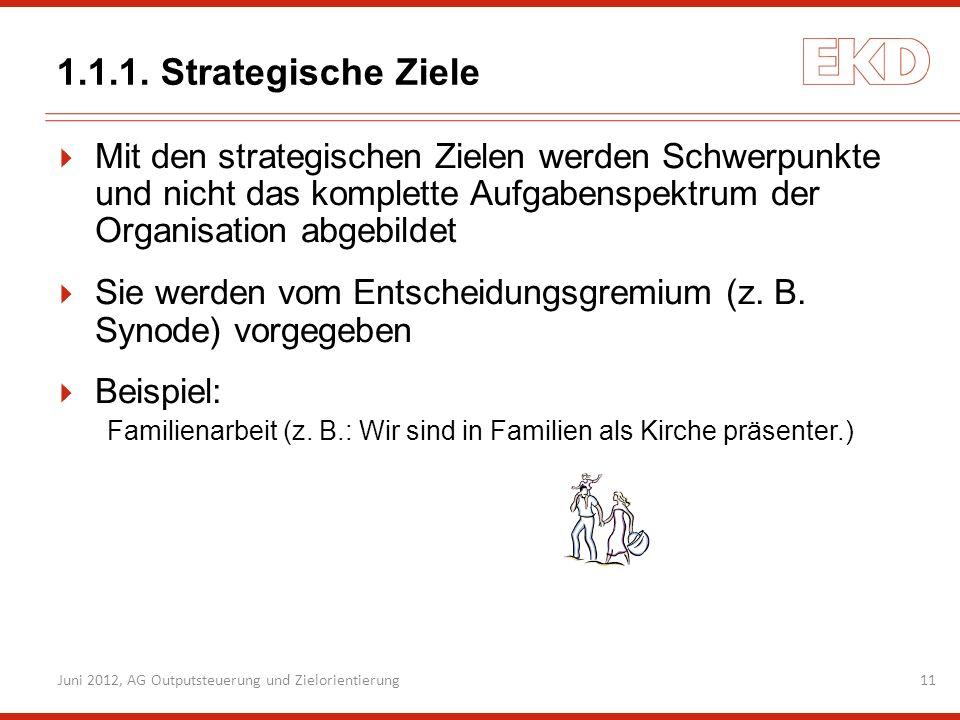 1.1.1. Strategische ZieleMit den strategischen Zielen werden Schwerpunkte und nicht das komplette Aufgabenspektrum der Organisation abgebildet.