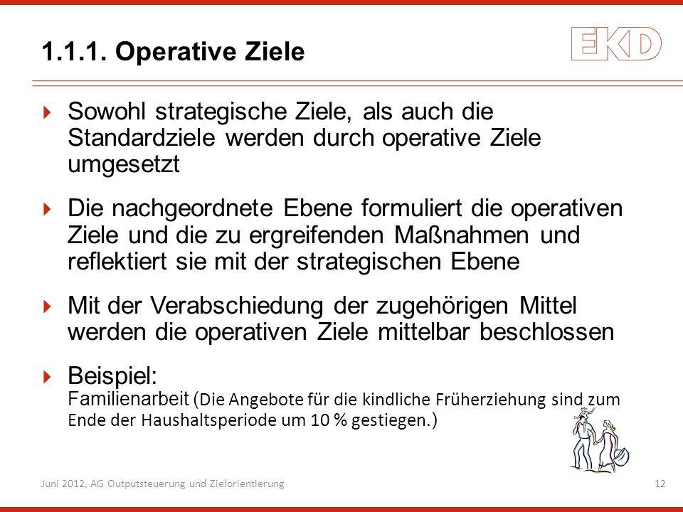 1.1.1. Operative Ziele Sowohl strategische Ziele, als auch die Standardziele werden durch operative Ziele umgesetzt.