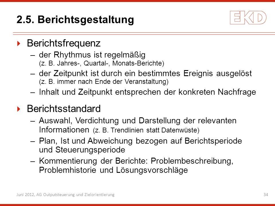 2.5. Berichtsgestaltung Berichtsfrequenz Berichtsstandard