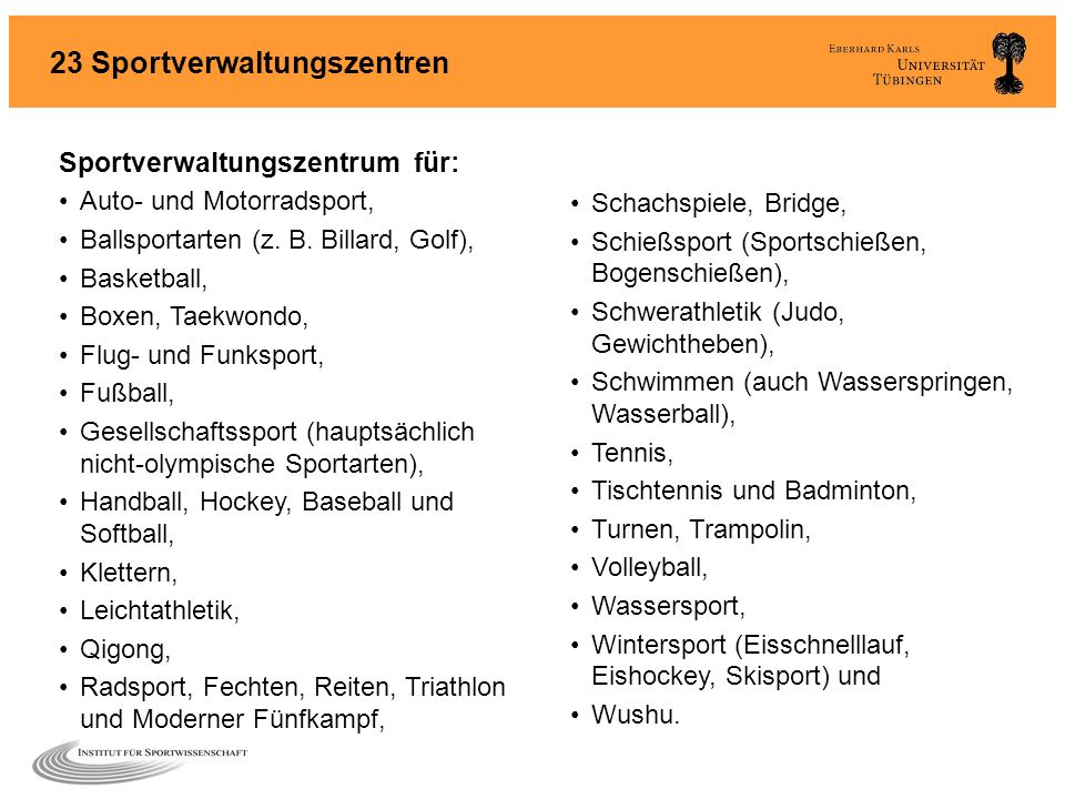 23 Sportverwaltungszentren