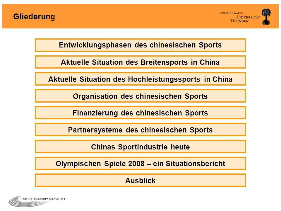 Gliederung Entwicklungsphasen des chinesischen Sports