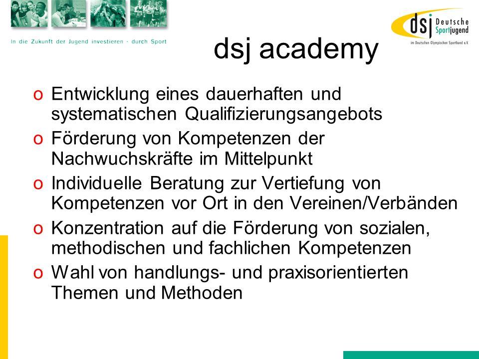 dsj academy Entwicklung eines dauerhaften und systematischen Qualifizierungsangebots. Förderung von Kompetenzen der Nachwuchskräfte im Mittelpunkt.