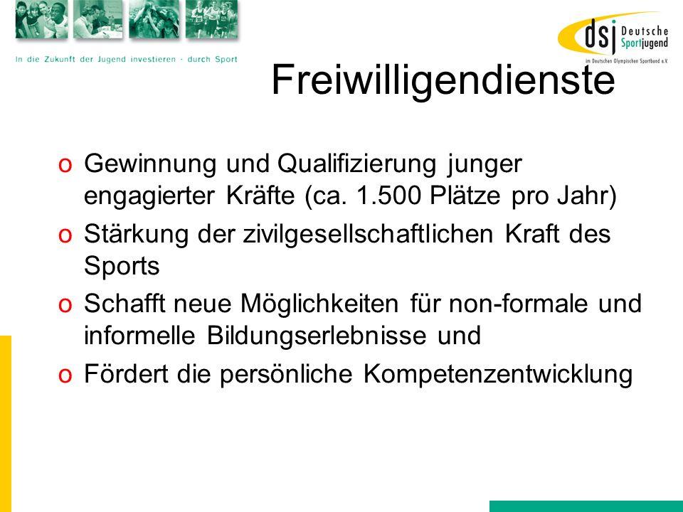 Freiwilligendienste Gewinnung und Qualifizierung junger engagierter Kräfte (ca. 1.500 Plätze pro Jahr)