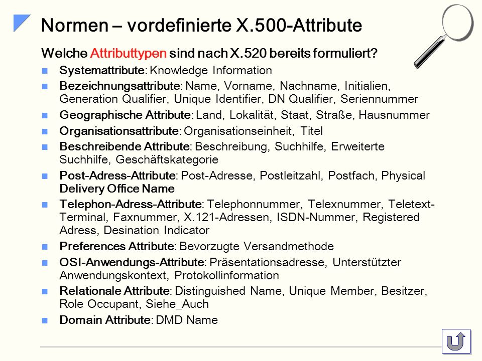 Normen – vordefinierte X.500-Attribute