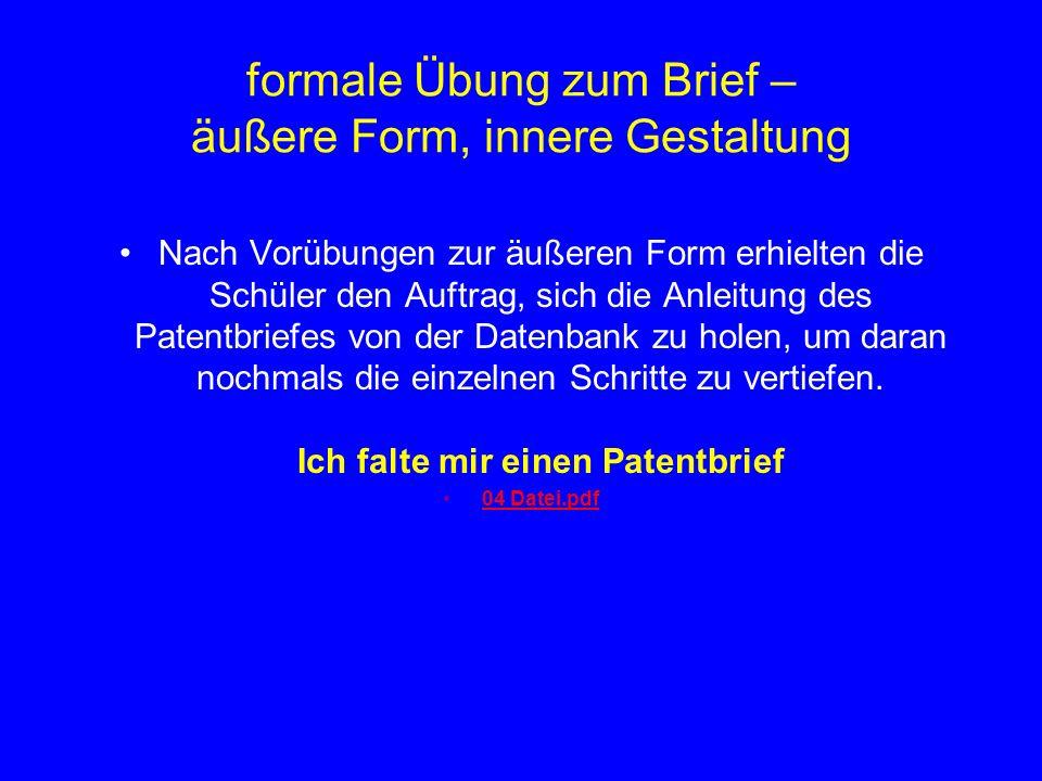 formale Übung zum Brief – äußere Form, innere Gestaltung