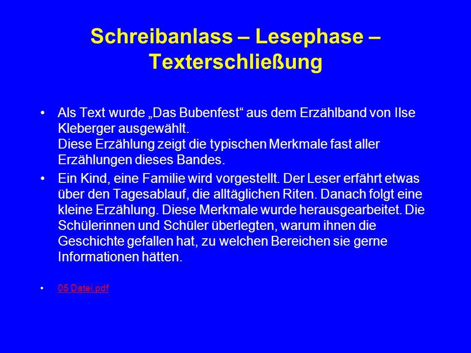 Schreibanlass – Lesephase – Texterschließung