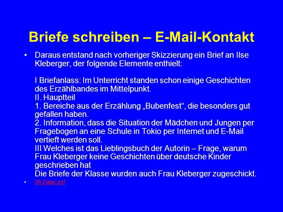 Briefe schreiben – E-Mail-Kontakt