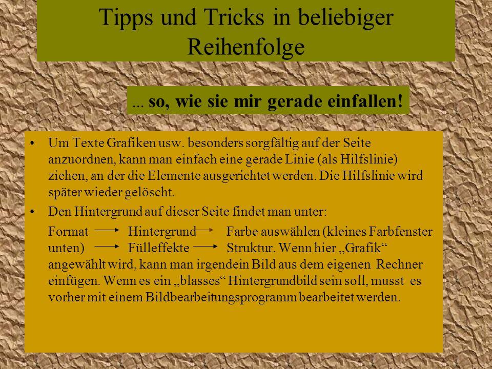 Tipps und Tricks in beliebiger Reihenfolge