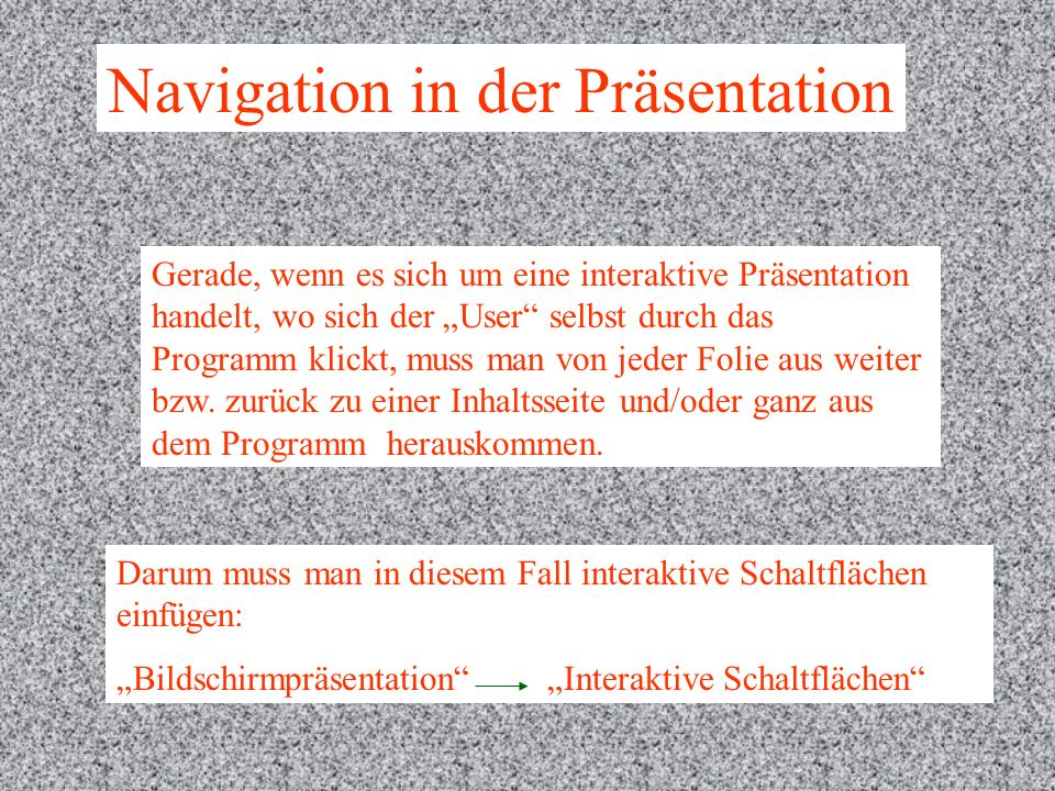 Navigation in der Präsentation