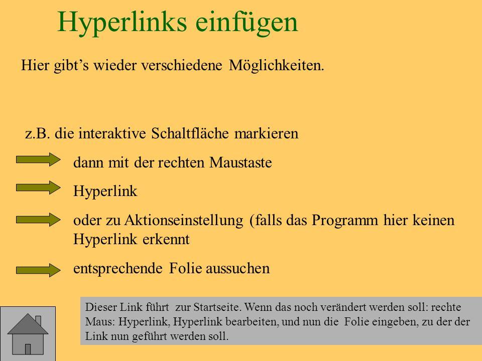 Hyperlinks einfügen Hier gibt's wieder verschiedene Möglichkeiten.
