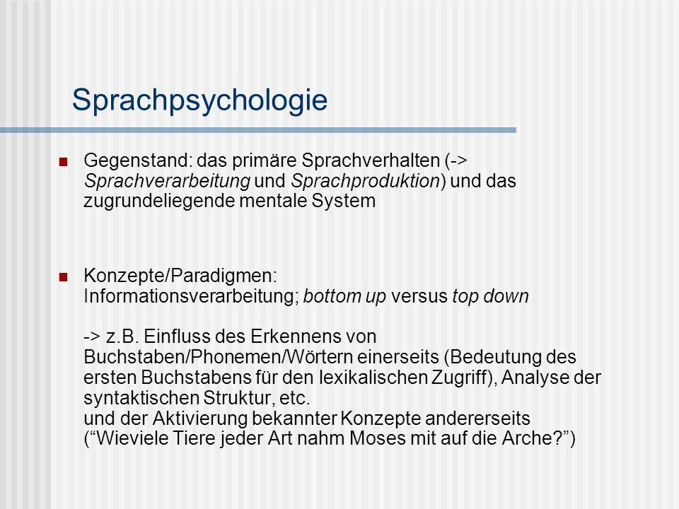 Sprachpsychologie Gegenstand: das primäre Sprachverhalten (-> Sprachverarbeitung und Sprachproduktion) und das zugrundeliegende mentale System.