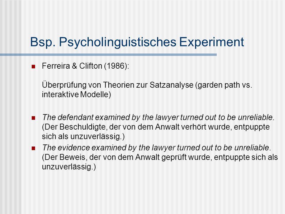 Bsp. Psycholinguistisches Experiment