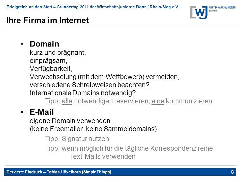 E-Mail eigene Domain verwenden (keine Freemailer, keine Sammeldomains)