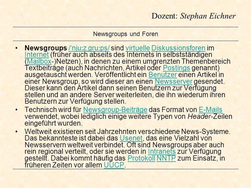 Newsgroups und Foren