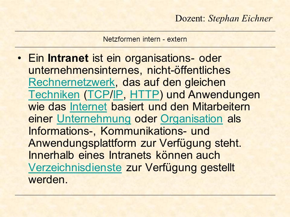 Netzformen intern - extern