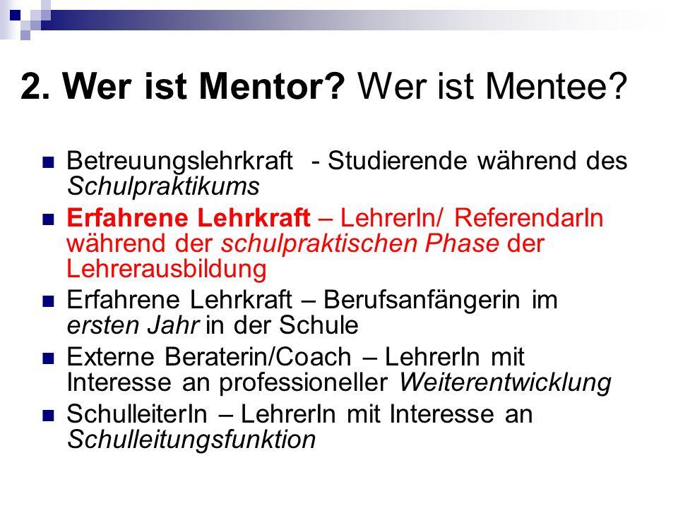 2. Wer ist Mentor Wer ist Mentee