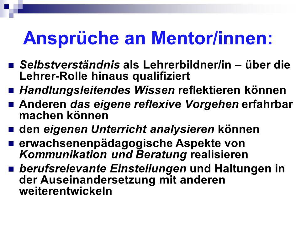 Ansprüche an Mentor/innen: