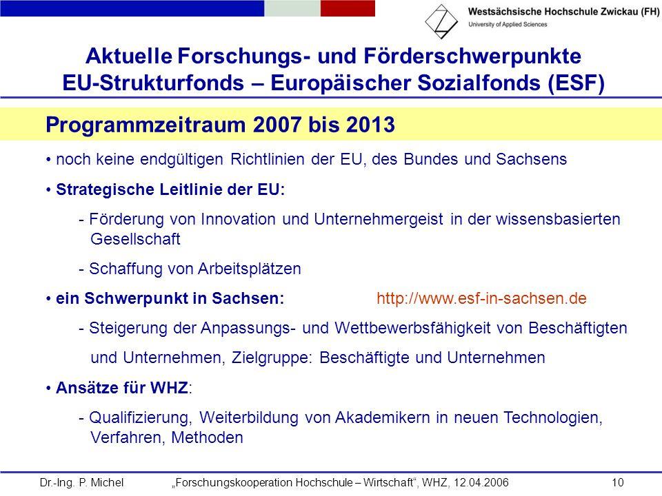 Aktuelle Forschungs- und Förderschwerpunkte EU-Strukturfonds – Europäischer Sozialfonds (ESF)