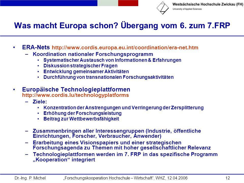 Was macht Europa schon Übergang vom 6. zum 7.FRP