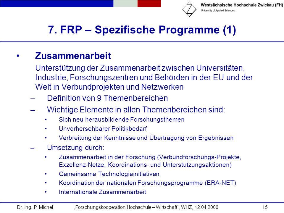 7. FRP – Spezifische Programme (1)