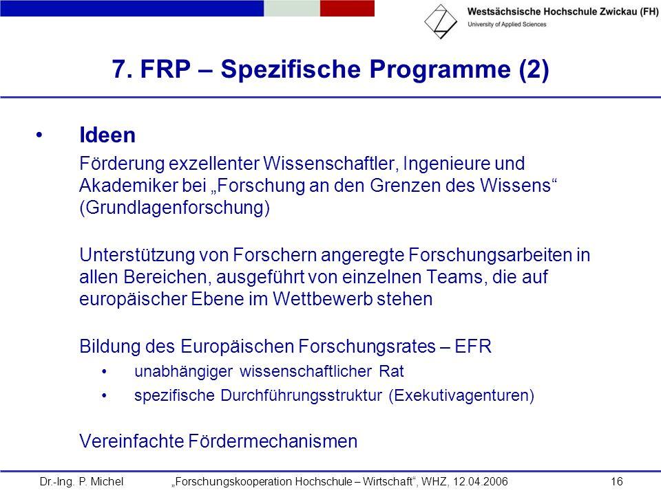 7. FRP – Spezifische Programme (2)