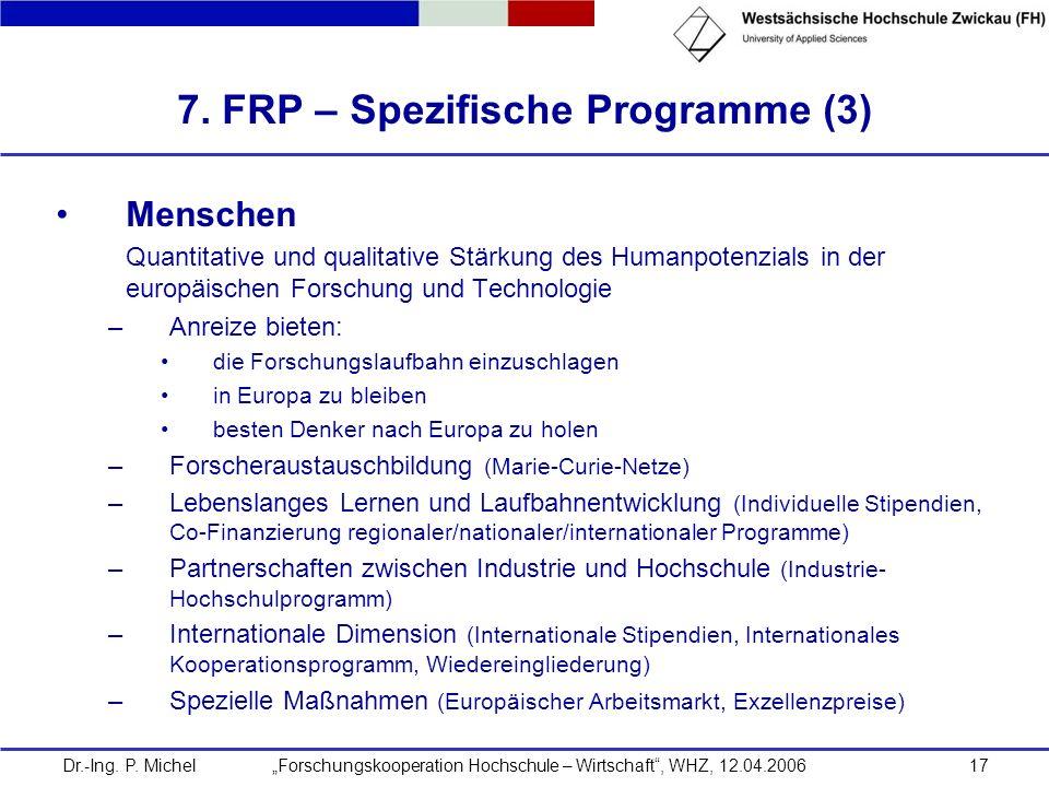 7. FRP – Spezifische Programme (3)