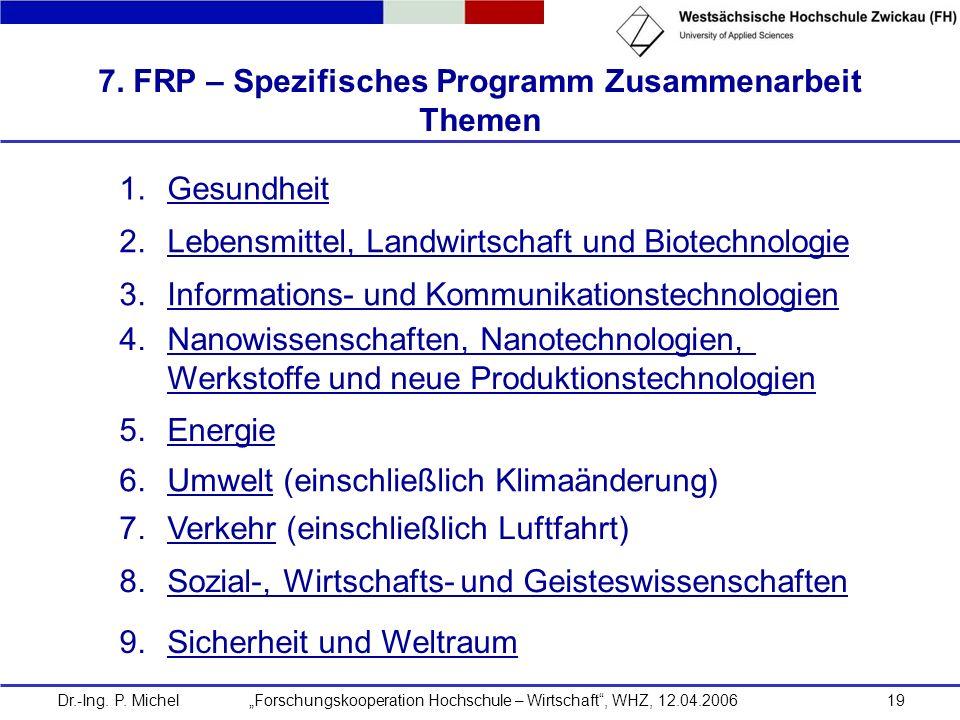 7. FRP – Spezifisches Programm Zusammenarbeit Themen