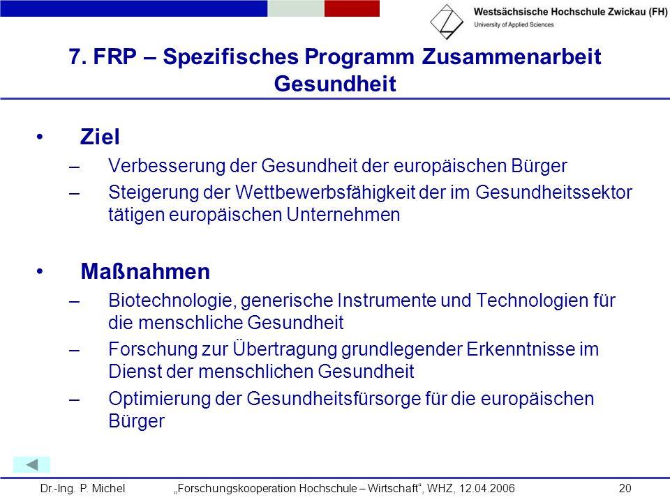 7. FRP – Spezifisches Programm Zusammenarbeit Gesundheit