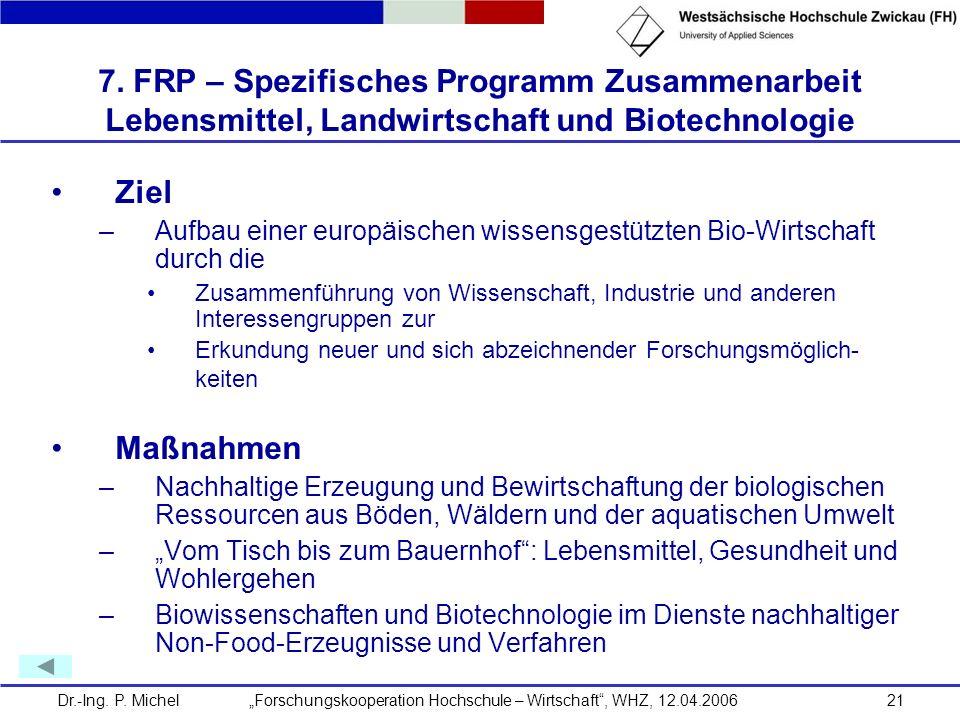 7. FRP – Spezifisches Programm Zusammenarbeit Lebensmittel, Landwirtschaft und Biotechnologie