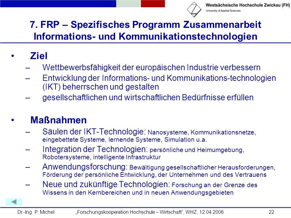 7. FRP – Spezifisches Programm Zusammenarbeit Informations- und Kommunikationstechnologien