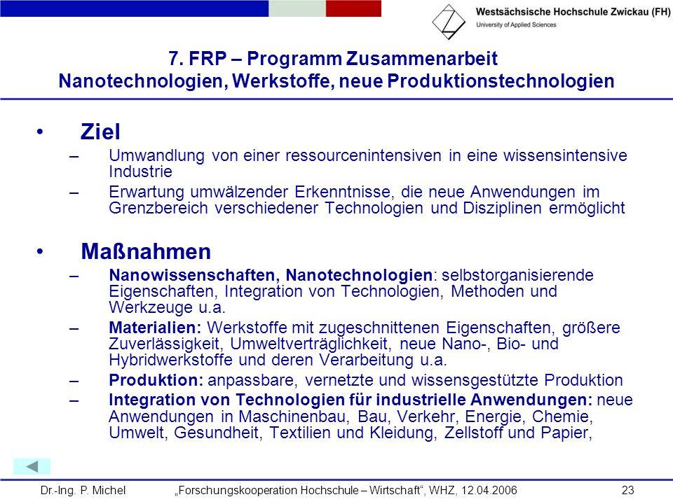 7. FRP – Programm Zusammenarbeit