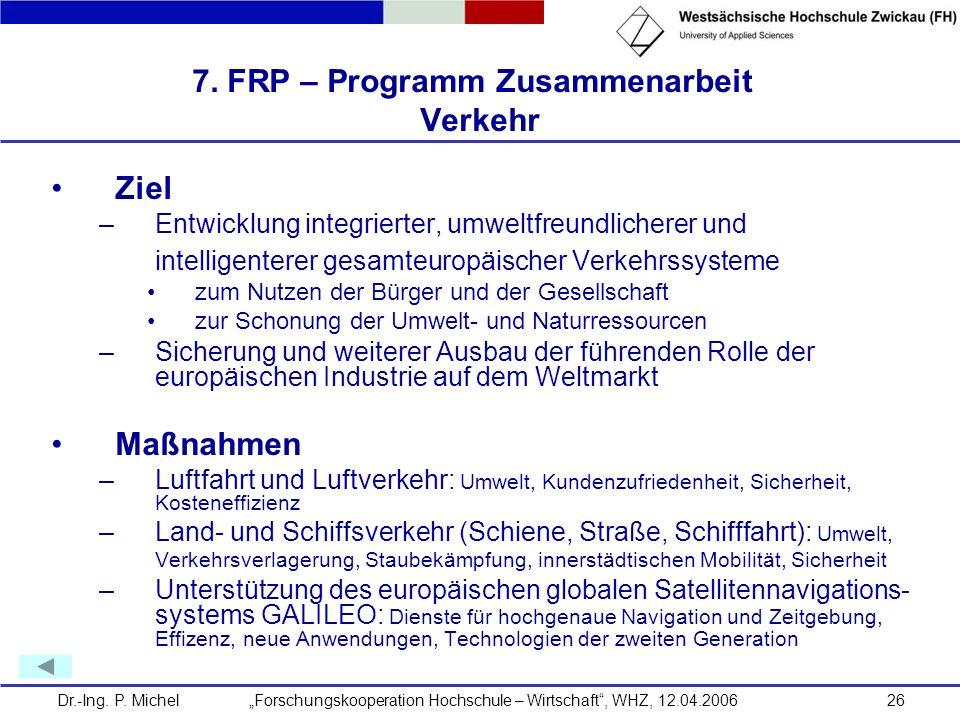 7. FRP – Programm Zusammenarbeit Verkehr