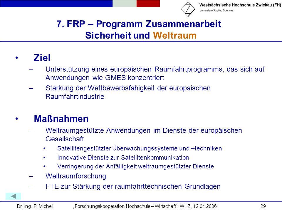 7. FRP – Programm Zusammenarbeit Sicherheit und Weltraum