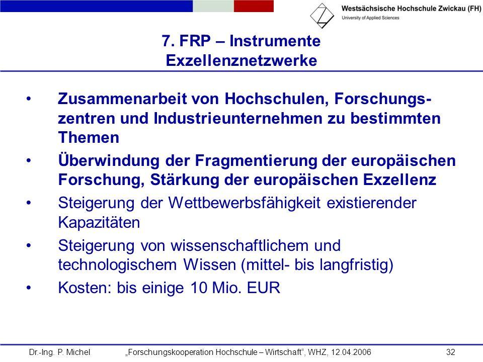 7. FRP – Instrumente Exzellenznetzwerke