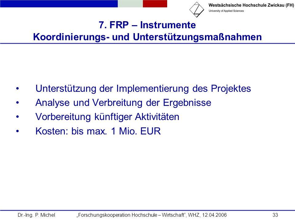 7. FRP – Instrumente Koordinierungs- und Unterstützungsmaßnahmen