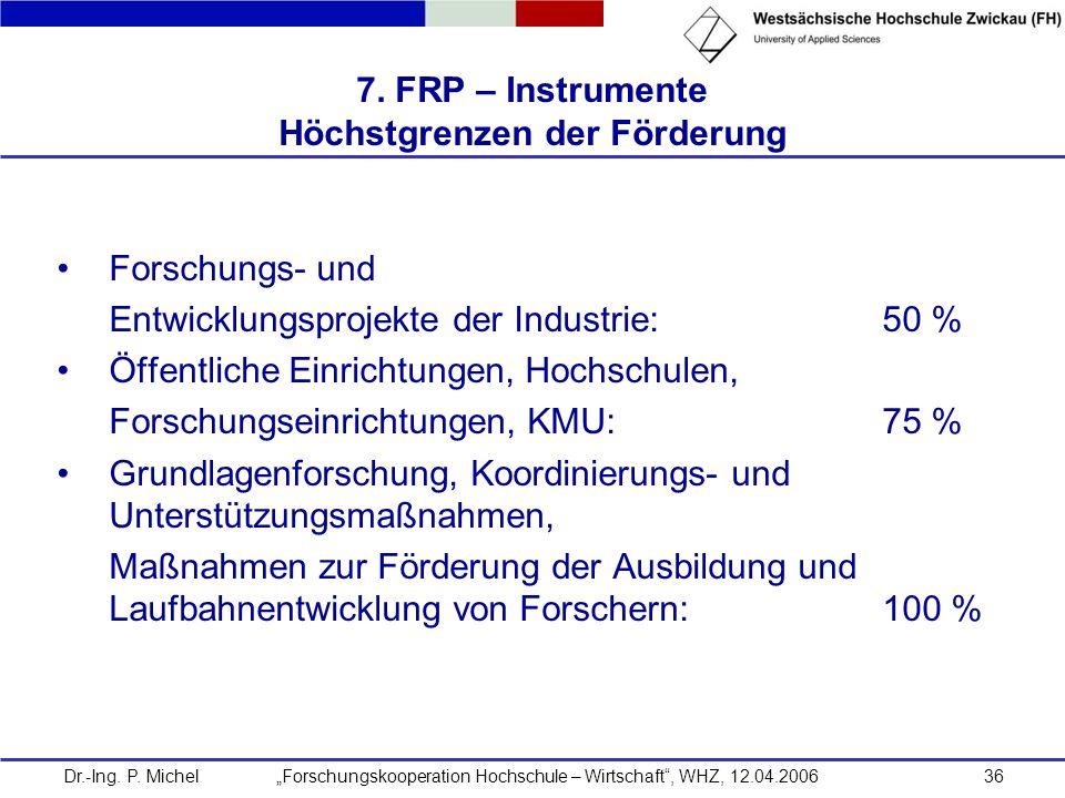 7. FRP – Instrumente Höchstgrenzen der Förderung